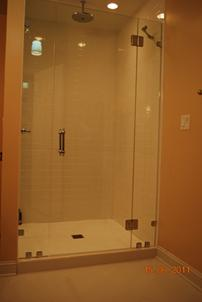 Glass panel shower