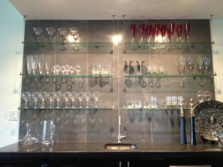Hanging glass shelves