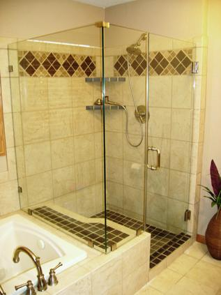 Glass 90 degree frameless shower