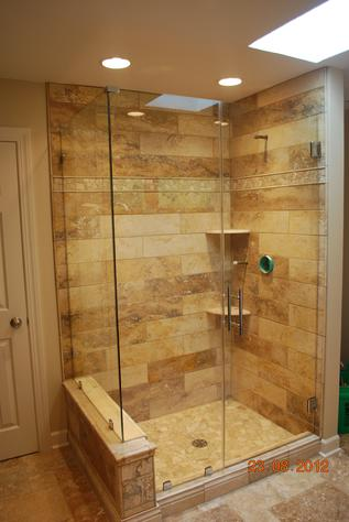 Glass and tile modern shower
