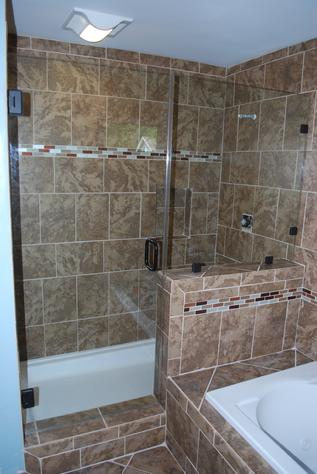 Inline glass shower