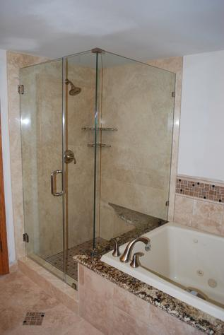 Glass modern shower and tub