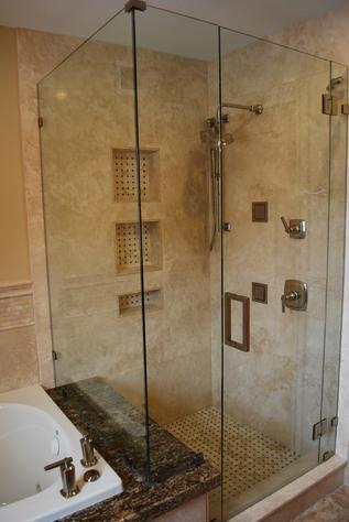Glass modern look shower