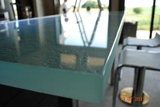Custom glass countertop
