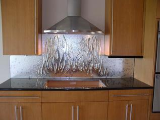 Custom backsplash with pattern glass