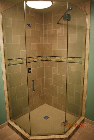 Modern angle glass shower